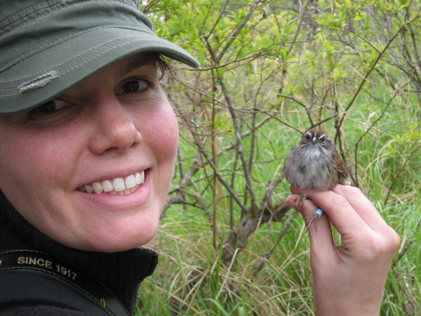 Smile! Moseley and Swamp Sparrow pose for the camera