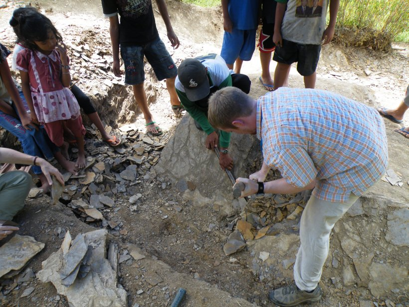 OEB student Tom Eiting quarrying for fossils
