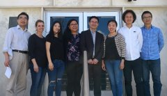 photo of Zhenhua Liu, Lisa Minter, graduate students Min Gu, Kathy Sanidad and Weicang Wang, postdoctoral fellow Haixia Yang, Hang Xiao and senior author Guodong Zhang
