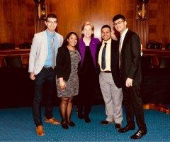 Sen. Elizabeth Warren with (from left) Evan Kuras, Christina Chisholm, Avelino Amado and Archit Rastogi.